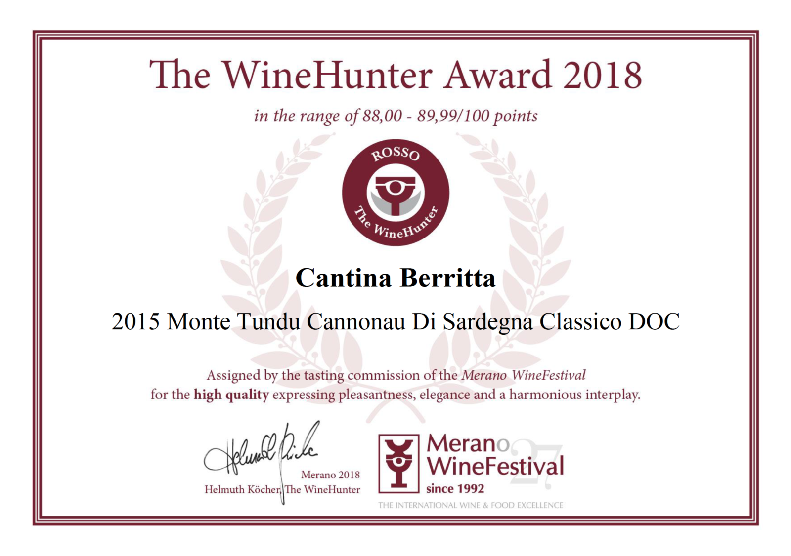 """The WineHunter"" premia la Cantina Berritta"